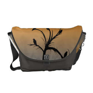 A Bare Tree with Silhouettes of Crows Messenger Bags