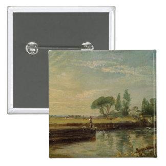 A Barge below Flatford Lock, c.1810 (oil on canvas 15 Cm Square Badge