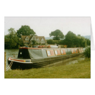 A BARGE ON THE RIVER THAMES AT HENLEY GREETING CARD