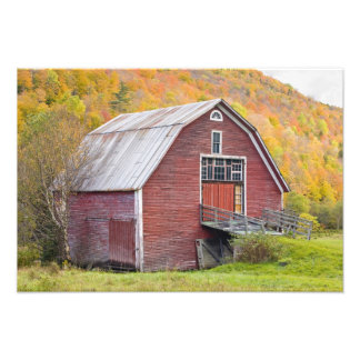 A barn in Vermont's Green Mountains. Hancock, 2 Photographic Print