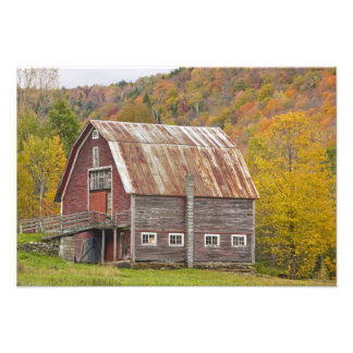 A barn in Vermont's Green Mountains. Hancock, Photographic Print