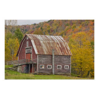 A barn in Vermont's Green Mountains. Hancock, Poster