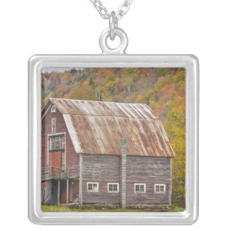 A barn in Vermont's Green Mountains. Hancock, Silver Plated Necklace