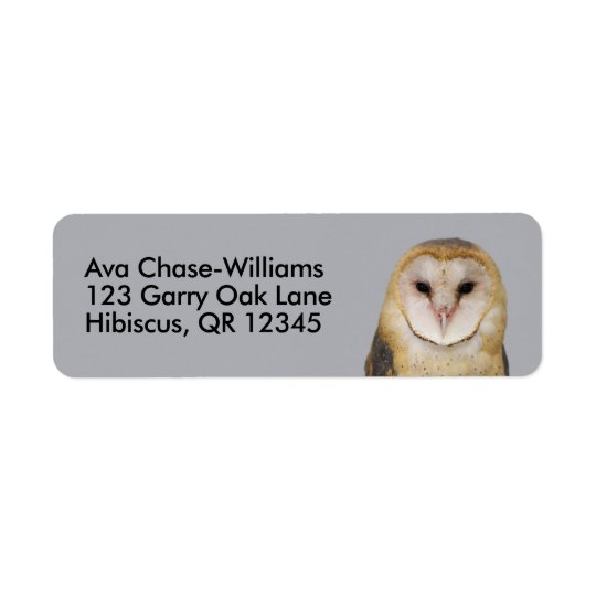 A Barn Owl Beauty Return Address Label