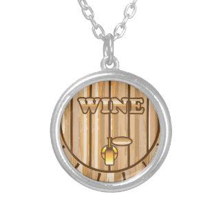 A barrel of Wine Round Pendant Necklace