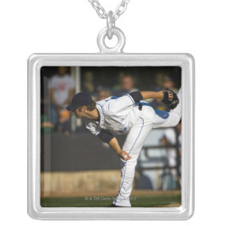 A baseball playing throwing the ball silver plated necklace