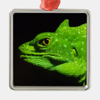 A Basilisk Lizard Silver-Colored Square Decoration