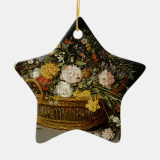 A Basket of Flowers - Jan Brueghel the Younger Christmas Ornament