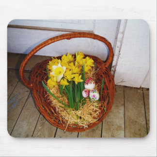 A Basket of Yellow Daffodils and floral Easter Egg Mouse Pads