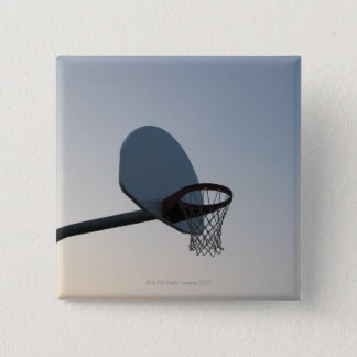 A basketball backboard hoop and net. Clear blue 15 Cm Square Badge
