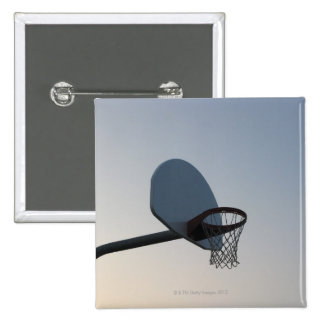 A basketball backboard hoop and net. Clear blue 15 Cm Square Badge