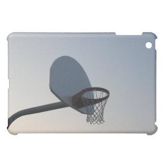 A basketball backboard hoop and net. Clear blue iPad Mini Cases