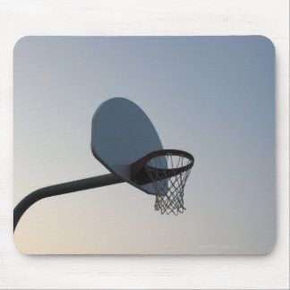 A basketball backboard hoop and net. Clear blue Mouse Mat