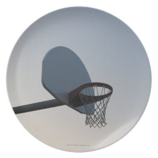 A basketball backboard hoop and net. Clear blue Plate