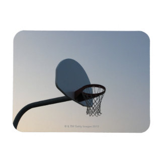 A basketball backboard hoop and net. Clear blue Vinyl Magnet