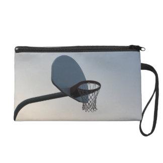 A basketball backboard hoop and net. Clear blue Wristlet