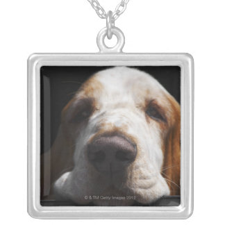 A Basset Hound resting his head Silver Plated Necklace