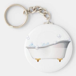 A bathtub basic round button key ring