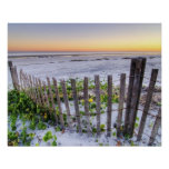 A Beach Fence at Sunset Poster