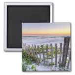 A Beach Fence at Sunset Square Magnet