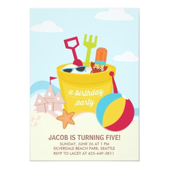 A Beach Party Kids Birthday Invitation
