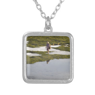 A beach scene of a villager taken in Bali island Square Pendant Necklace