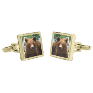 """A Bear Named Buddy"" Cuff Links Gold Finish Cufflinks"