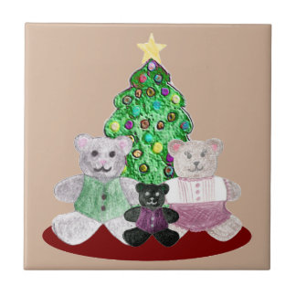 A Beary Merry Christmas Collage Small Square Tile