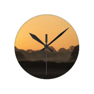 A beautiful Autumn Sunrise Round Clock