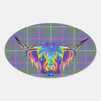 A beautiful colourful highland cow on tartan. oval sticker