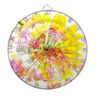 A beautiful day with flowers - Mixed Media Art Dartboard
