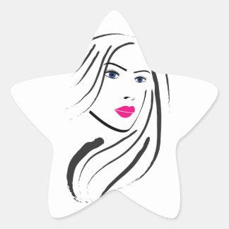 a beautiful lady star sticker