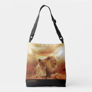 A beautiful lion couple cross body bag