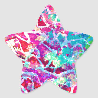 A BEAUTIFUL MESS 2 Pink Turquoise Blue Abstract Star Sticker