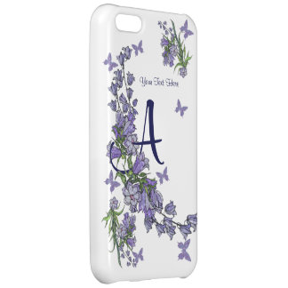 A - Beautiful Monogram Blue Bells & Butterfly iPhone 5C Case