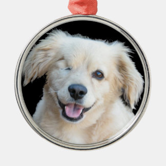 A beautiful one eyed dog. Silver-Colored round decoration