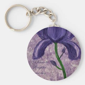 A beautiful purple flower basic round button key ring