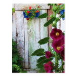 A beautiful rustic old blue door in a wild garden postcard