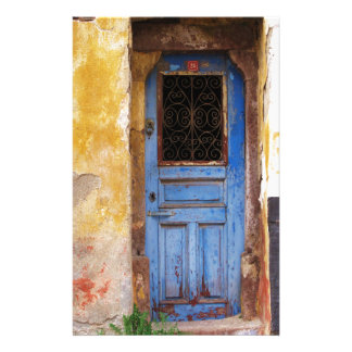 A beautiful rustic old blue door in CRETE, Greece Stationery