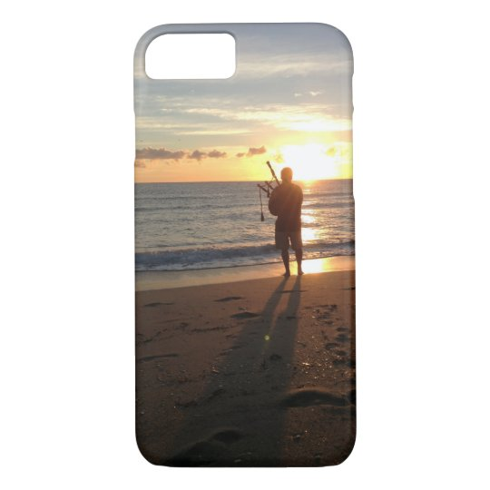 a beautiful sunrise at the beach with music iPhone 7 case