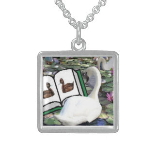 A BEAUTIFUL SWAN SQUARE PENDANT NECKLACE