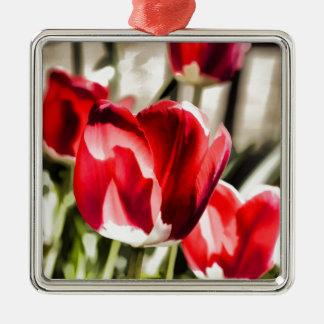 A beautiful Tulip Silver-Colored Square Decoration