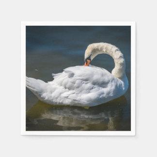 A beautiful white swan disposable serviettes