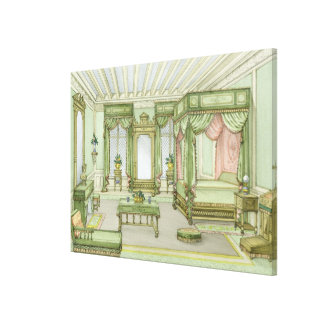 A Bedroom interior in Henri II style (colour litho Stretched Canvas Prints