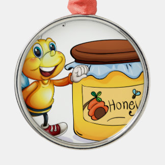A bee beside the jar of honey Silver-Colored round decoration