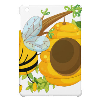 A bee holding a pot of honey near the beehive iPad mini cover