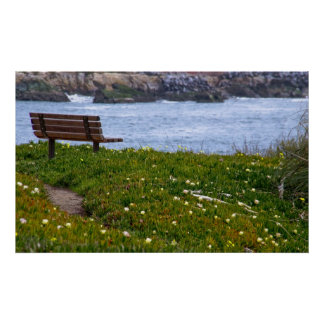 A Bench with Ocean View Poster