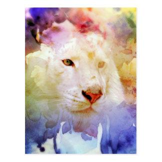 A Big Cat in a Floral Grunge Field Postcard