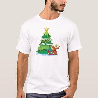 A big christmas tree beside the reindeer hugging t T-Shirt