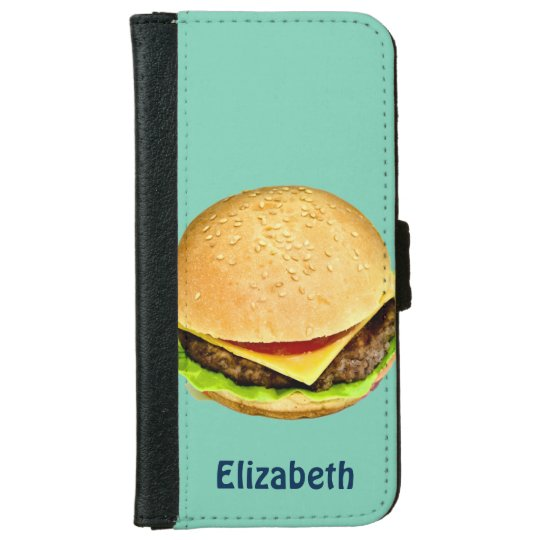 A Big Juicy Cheeseburger Photo Personalised iPhone 6 Wallet Case